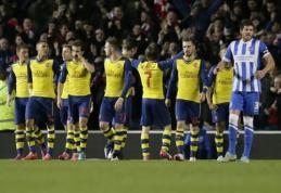 """""""Arsenal"""" išvykoje palaužė """"Brighton"""" ir pateko į FA taurės aštuntfinalį (VIDEO)"""