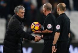 """J. Mourinho po pergalingų rungtynių prieš """"West Ham"""" apie teisėjų darbą nekalbėjo"""