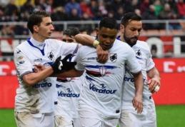 """""""Milan"""" namuose nusileido """"Sampdoria"""", M. Parolo nustebino pokeriu, o """"Juve"""" palaužė """"Inter"""" (VIDEO)"""