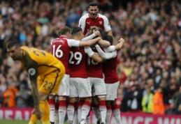 """""""Arsenal"""" įveikė """"Brighton"""" ir pasivijo """"Chelsea"""", """"Everton"""" pralaimėjo """"Burnley"""" (VIDEO)"""