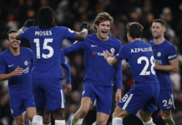 """""""Chelsea"""" ir """"Arsenal"""" pasiekė minimalias pergales, """"Leicester"""" - sutriuškintas namuose (VIDEO)"""