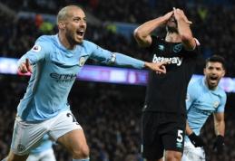 """D. Silvos įvartis atvedė """"Man City"""" į sunkią pergalę prieš """"West Ham"""" (VIDEO)"""