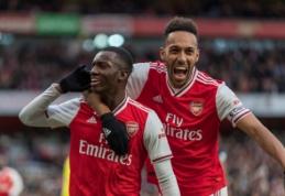 """Rezultatyvioje """"Arsenal"""" ir """"Everton"""" dvikovoje – P. Aubameyango dublis ir """"kanonierių"""" pergalė"""