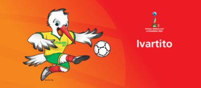 Pasaulio salės futbolo čempionato talismanas – šokantis gandras