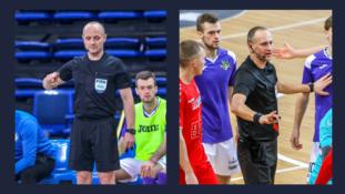 Š.Tamulynas ir M.Pomeckis teisėjaus Futsal Čempionų lygos atrankos rungtynėse