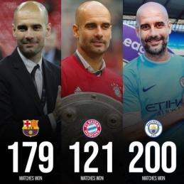 Treneris J. Guardiola pasiekė 500 pergalių ribą