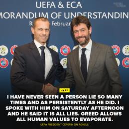 UEFA prezidentas A. Čeferinas yra A. Agnelli dukters krikštatėvis
