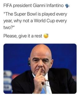 FIFA vadovas turi savų argumentų dėl dažnesnių pasaulio pirmenybių