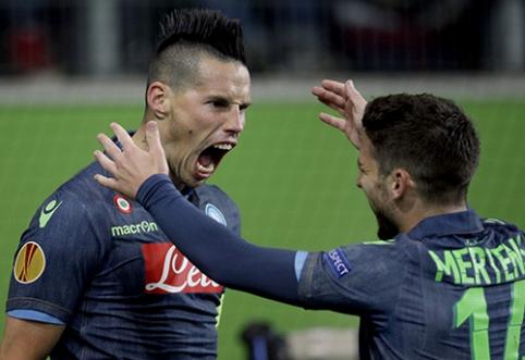 """Europos lygos ketvirtfinaliai: """"Napoli"""" svečiuose sutriuškino """"Wolfsburg"""", o """"Fiorentina"""" vos nepralaimėjo """"Dynamo"""""""