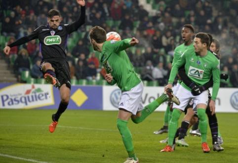 """""""Saint-Etienne"""" pratęsimo pabaigoje išplėšė pergalę prieš """"AC Ajaccio"""""""