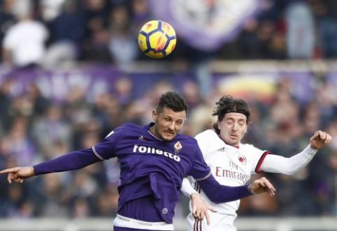 """Italijoje - """"Fiorentina"""" lygiosios su """"Milan"""", prarasti """"Roma"""" taškai ir """"Sampdoria"""" pergalė  (VIDEO)"""
