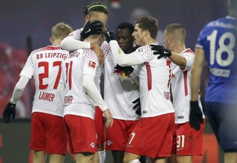 """""""Leipzig"""" namuose nukovė ir iš antros pozicijos išstūmė """"Schalke"""" (VIDEO)"""