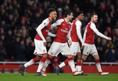 """""""Arsenal"""" vakaras: P. Aubameyangas debiutavo įvarčiu, o A. Ramsey pasiekė hat-tricką (VIDEO)"""