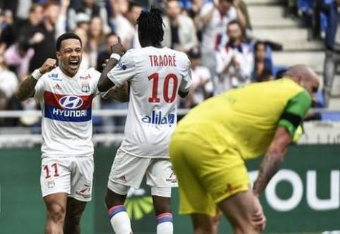 """""""Lyon"""" įveikė """"Nantes"""", sulaukė """"Monaco"""" lygiųjų ir pakilo į antrąją vietą (VIDEO)"""