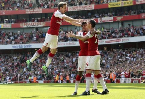 ''Arsenal'' mačo pabaigoje sutriuškino ''West Ham'', ''Man City'' pasismagino namuose (VIDEO)