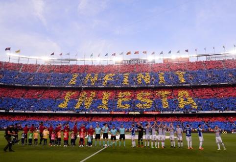 """A. Iniesta pergalingai atsisveikino su """"Barcelona"""", F. Torresas savo pabaigą """"Atletico"""" komandoje pasižymėjo dubliu (VIDEO)"""