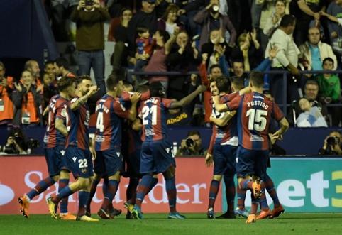 """Sensacija Ispanijoje: penkis įvarčius į """"Barcos"""" vartus įsūdžiusi """"Levante"""" nutraukė katalonų nepralaimėtų rungtynių seriją (VIDEO)"""