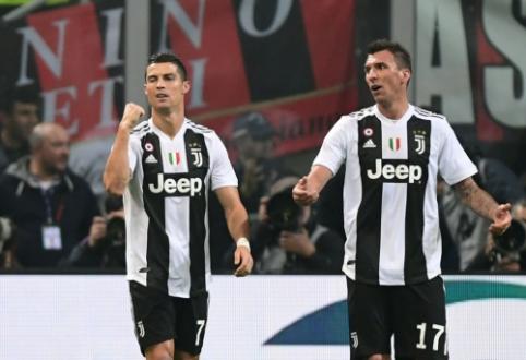 """""""Juventus"""" patiesė """"Milan"""", o G. Higuainas buvo """"apdovanotas"""" raudona kortele"""