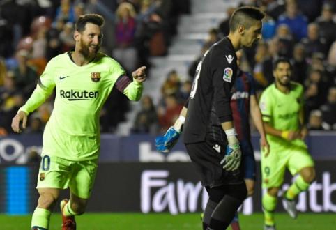"""L. Messi magija: """"Barca"""" sutriuškino """"Levante"""", o argentinietis prisidėjo prie visų penkių įvarčių"""