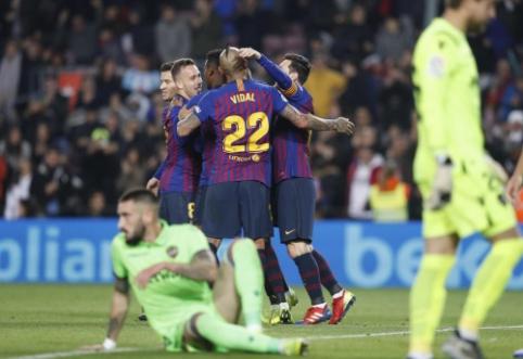 """""""Barca"""" pateko į Karaliaus taurės ketvirtfinalį, tačiau """"Levante"""" dar ginklų nenuleidžia"""