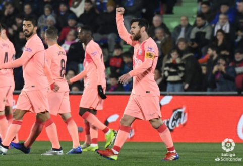 """Barcelona"" tolsta: išvykoje po sunkios kovos nugalėta ""Getafe"""