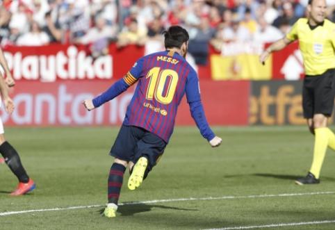 """50-ąjį karjeros """"hat-tricką"""" įmušęs L. Messi atvedė """"Barcą"""" į sunkią pergalę Sevilijoje"""