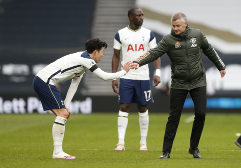 """O. G. Solskjaeras po pergalės prieš """"Tottenham"""" negailėjo kritikos H-M. Sonui bei teisėjui"""