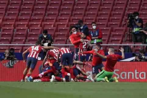 """Drama Ispanijoje: """"Atletico"""" ekipa tik mačo pabaigoje palaužė """"Osasuną"""" ir išsaugojo lyderės poziciją"""